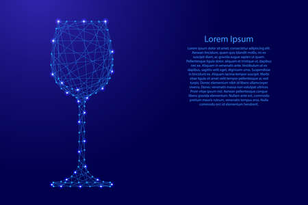 Glass of wine one from futuristic polygonal blue lines and glowing stars for banner, poster, greeting card. Vector illustration.