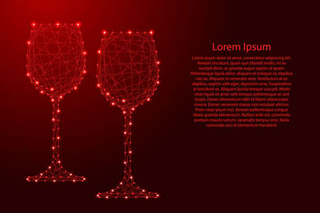 Two glass of wine from futuristic polygonal red lines and glowing stars for banner, poster, greeting card. Vector illustration. Vecteurs