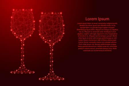 Zwei Glas Wein aus futuristischen polygonalen roten Linien und leuchtenden Sternen für Banner, Poster, Grußkarten. Vektor-Illustration. Vektorgrafik