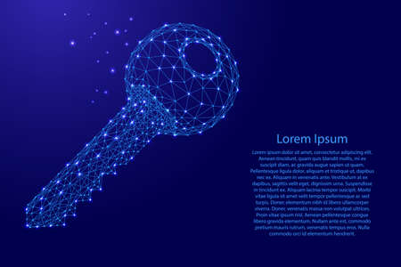 Key lock data storage and protection information from futuristic polygonal blue lines and glowing stars for banner, poster, greeting card. Vector illustration.