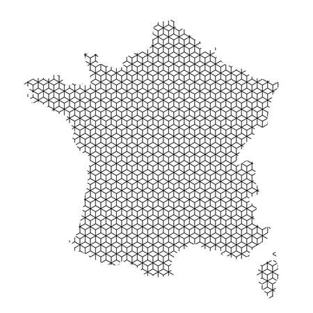 France map abstract schematic from black lines repeating pattern geometric background with rhombus and nodes from rhombuses. Vector illustration. Illustration