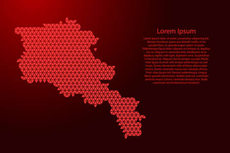 Armenia map abstract schematic from red triangles repeating pattern geometric background with nodes for banner, poster, greeting card. Vector illustration. Illustration