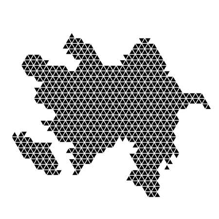 Azerbaijan map abstract schematic from black triangles repeating pattern geometric background with nodes. Vector illustration.  イラスト・ベクター素材