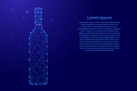 Bottle of wine from futuristic polygonal blue lines and glowing stars for banner, poster, greeting card. Vector illustration.