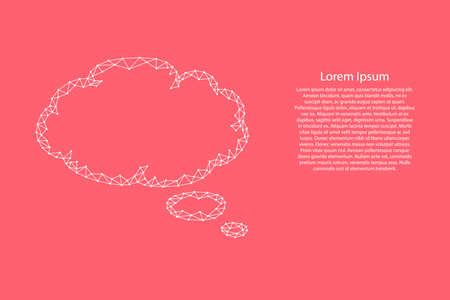 Cloud thought fly bubble speech from abstract futuristic polygonal white lines and dots on pink rose color coral background for banner, poster, greeting card. Vector illustration.