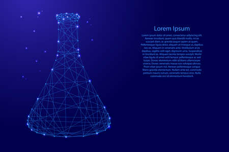 Flask cone chemical medical for experiments from futuristic polygonal blue lines and glowing stars for banner, poster, greeting card. Vector illustration.