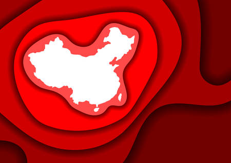 China map abstract schematic from red layers paper cut 3D waves and shadows one over the other. Layout for banner, poster, greeting card. Vector illustration.
