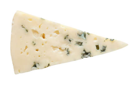 Blue cheese slice cut isolated on white background