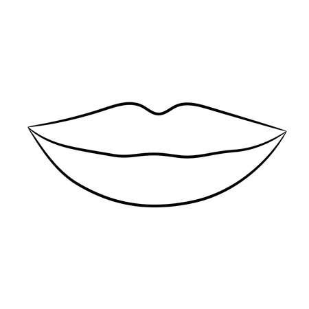 Lips female smile from black brush on white background.