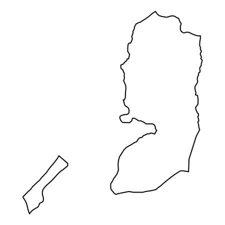 Palestine map from black contour curves lines on white background.