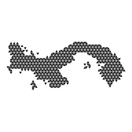 Panama map abstract schematic from black triangles repeating pattern geometric background with nodes.