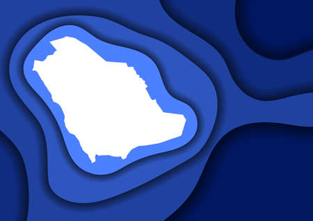 Saudi Arabia map abstract schematic from blue layers paper cut 3D waves and shadows one over the other. Layout for banner, poster, greeting card.
