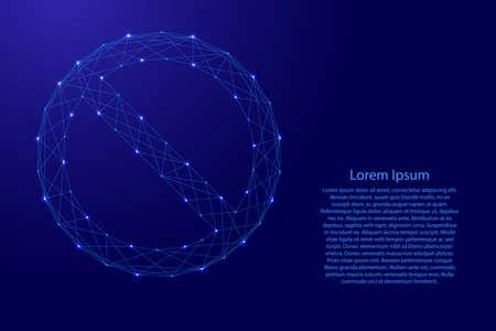 Verbotszeichen leer Der Kreis überquert die diagonale Linie aus futuristischen polygonalen blauen Linien und leuchtenden Sternen für Banner, Poster, Grußkarten. Vektorgrafik
