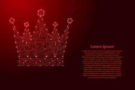 Crown Royal Imperial icon schematic from futuristic polygonal red lines and glowing stars for banner, poster, greeting card.