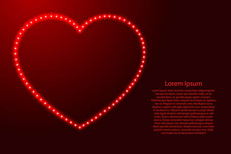 Heart love symbol for Valentines day from luminous red stars space points on the contour for banner, poster, greeting card.  イラスト・ベクター素材