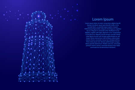 Lighthouse marine sea from futuristic polygonal blue lines and glowing stars for banner, poster, greeting card.