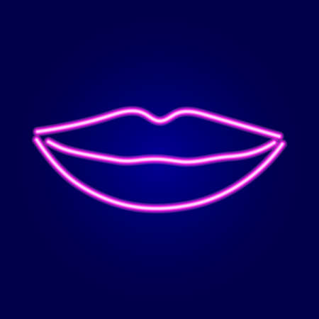 Lips female smile of neon pink glowing lines on dark blue background.