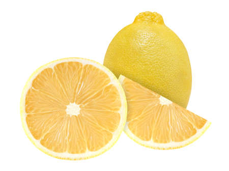 Lemon whole and slices cut in half inside middle yellow isolated on white background.