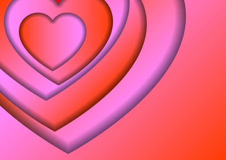 Heart love symbol for Valentines day from red and pink gradients paper cut layers with shadows for banner, poster, greeting card.  イラスト・ベクター素材