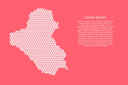 Iraq map abstract schematic from white  triangles repeating pattern geometric on pink coral color  background with nodes for banner, poster, greeting card.