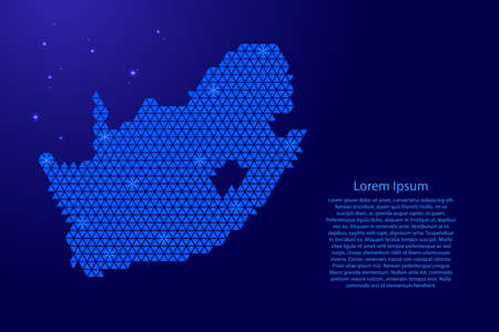 South Africa map abstract schematic from blue triangles repeating pattern geometric background with nodes and space stars for banner, poster, greeting card.  イラスト・ベクター素材