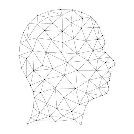 Head human silhouette from from abstract futuristic polygonal black lines and dots. Vector illustration.