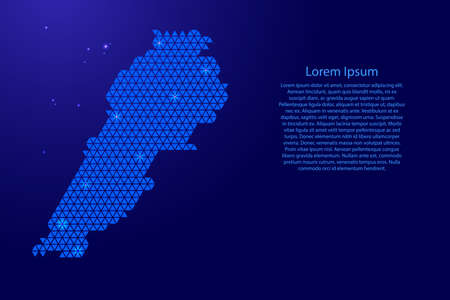 Lebanon map abstract schematic from blue triangles repeating pattern geometric background with nodes and space stars for banner, poster, greeting card. Vector illustration.