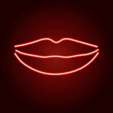 Lips female smile of neon red glowing lines on dark background. Stock Illustratie