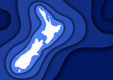 New Zealand map abstract schematic from blue layers paper cut 3D waves and shadows one over the other. Layout for banner, poster, greeting card. Vector illustration.