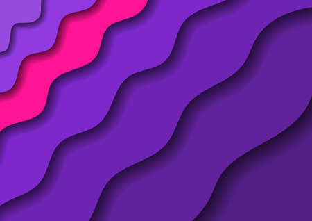 Paper cut banners with 3D abstract background with violet waves and shadows and one pink band. Layout for banner, poster, greeting card.  イラスト・ベクター素材