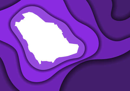 Saudi Arabia map abstract schematic from violet layers paper cut 3D waves and shadows one over the other. Layout for banner, poster, greeting card.
