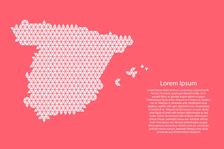 Spain map abstract schematic from white  triangles repeating pattern geometric on pink coral color  background with nodes for banner, poster, greeting card.