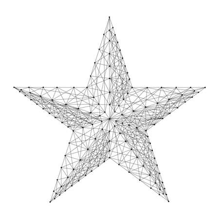 Star five pointed from abstract futuristic polygonal black lines and dots.