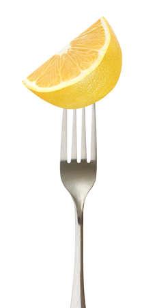 Lemon cut on impaled on a fork