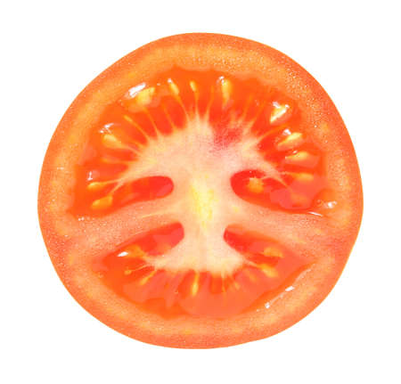 Tomato cut middle top view Stockfoto