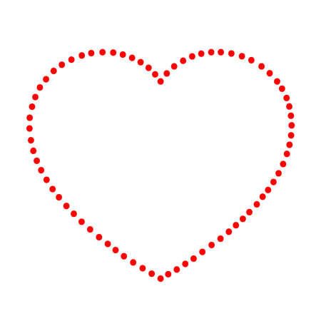 Heart love symbol for Valentines day from abstract schematic from the red dots points along the perimeter on white background. Vector illustration. Stock Illustratie