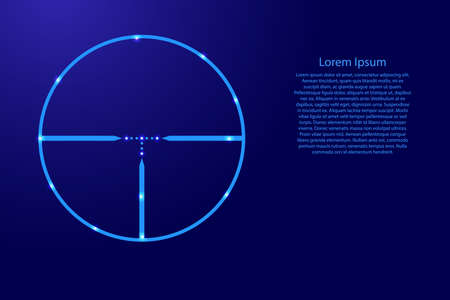 Ooptical sight of a sniper gun from blue lines and glowing stars. Vector illustration.  イラスト・ベクター素材