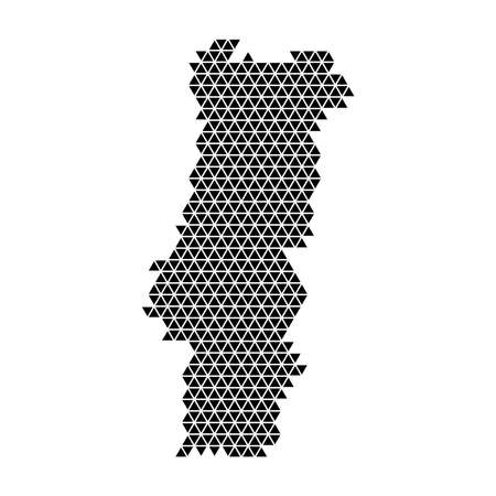 Portugal map abstract schematic from black triangles repeating pattern geometric background with nodes. Vector illustration.