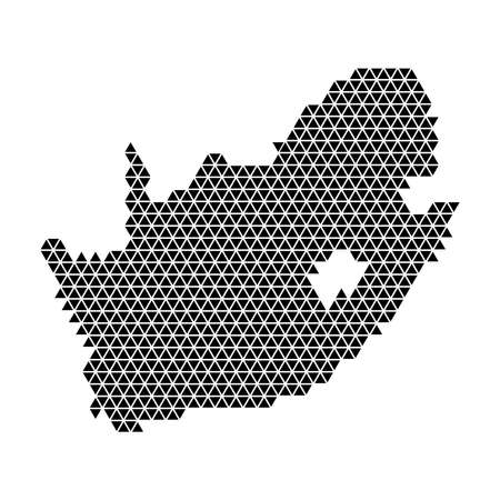 South Africa map abstract schematic from black triangles repeating pattern geometric background with nodes. Vector illustration. Иллюстрация