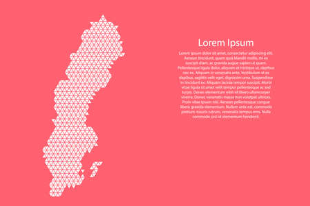 Sweden map abstract schematic from white  triangles repeating pattern geometric on pink coral color  background with nodes for banner, poster, greeting card. Vector illustration. Stock Illustratie