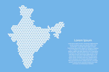 India map abstract schematic from white  triangles repeating pattern geometric on light blue background with nodes for banner, poster, greeting card. Vector illustration.