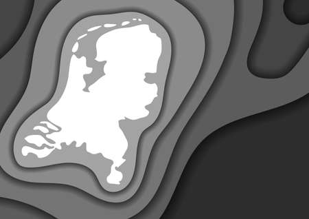 Netherlands map abstract schematic from grey monochrome layers paper cut 3D waves and shadows one over the other. Layout for banner, poster, greeting card. Vector illustration. Banque d'images - 131731703