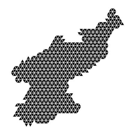 North Korea map abstract schematic from black triangles repeating pattern geometric background with nodes. Vector illustration.