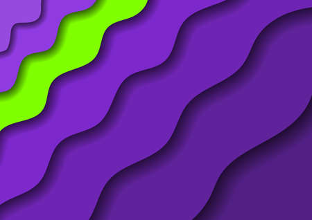 Paper cut banners with 3D abstract background with violet waves and shadows and one green band. Layout for banner, poster, greeting card. Vector illustration.