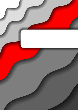 Paper cut background vertical from grey monochrome  layers and one red band for business presentations, flyers, posters, banner, greeting card. Vector illustration. Banque d'images - 131732422