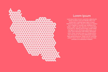 Iran map abstract schematic from white  triangles repeating pattern geometric on pink coral color  background with nodes for banner, poster, greeting card. Vector illustration.