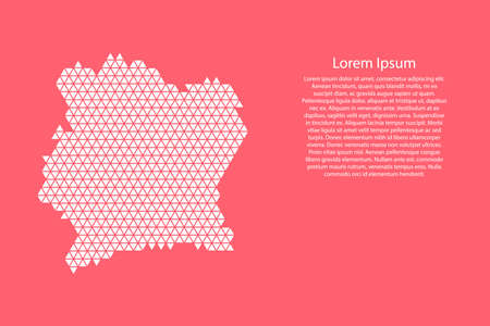 Ivory Coast map abstract schematic from white  triangles repeating pattern geometric on pink coral color  background with nodes for banner, poster, greeting card. Vector illustration.