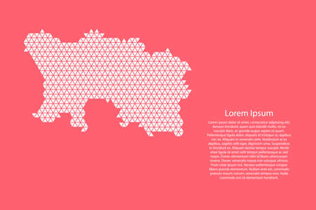 Jersey map abstract schematic from white  triangles repeating pattern geometric on pink coral color  background with nodes for banner, poster, greeting card. Vector illustration.
