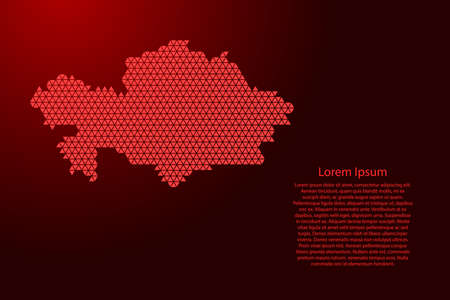 Kazakhstan map abstract schematic from red triangles repeating pattern geometric background with nodes for banner, poster, greeting card. Vector illustration.
