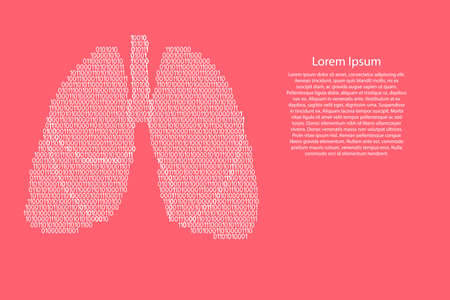 Lungs human anatomy respiratory organ abstract schematic from white ones and zeros binary digital code on pink coral color background for banner, poster, greeting card. Vector illustration.